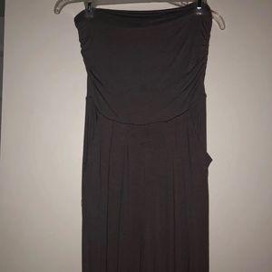Pants - Strapless grey cotton jumpsuit